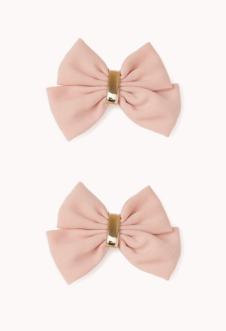Forever 21 Double Bow Hair Clips in Pink - Lyst 069d1e220ce