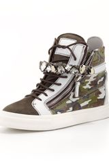 Giuseppe Zanotti Hightop Camo Sneaker with Jewel Strap Graygreen - Lyst