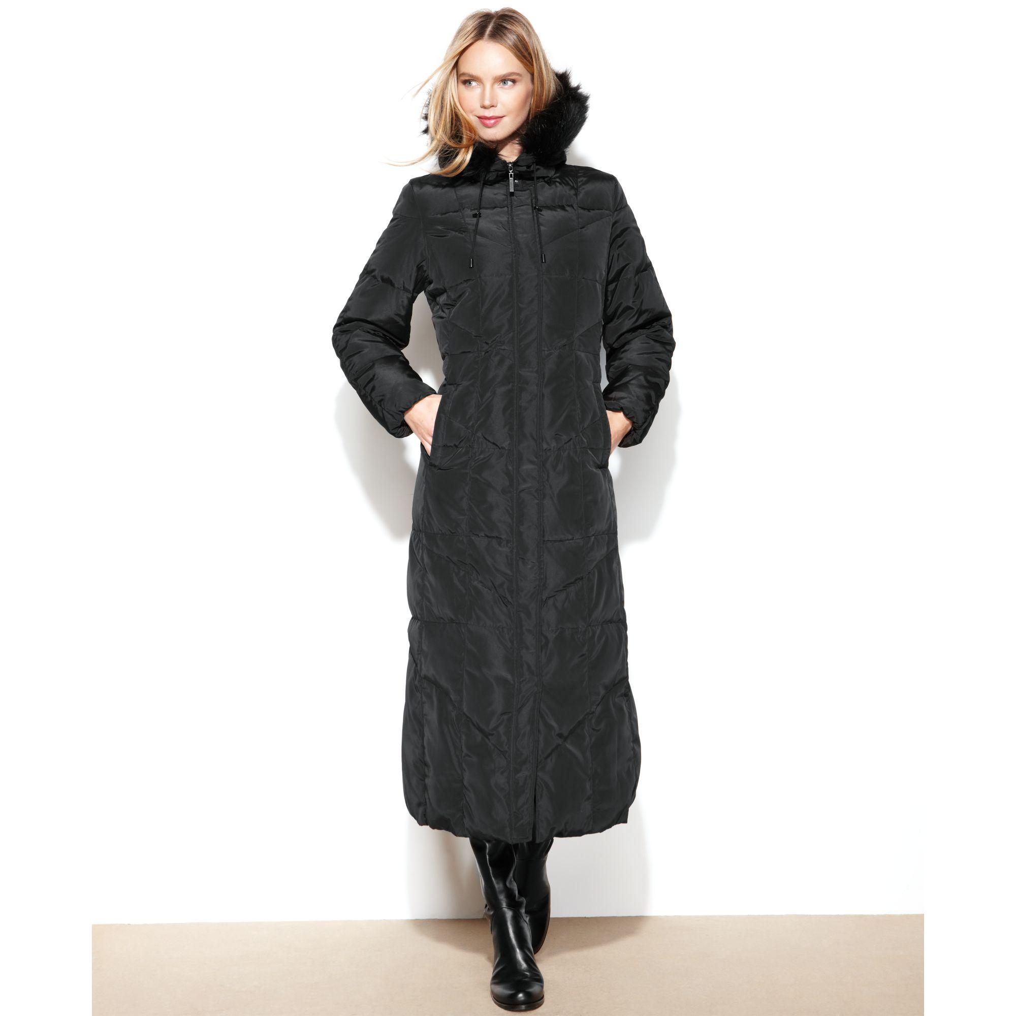 Jones New York Hooded Faux Fur Trim Maxi Puffer In Black