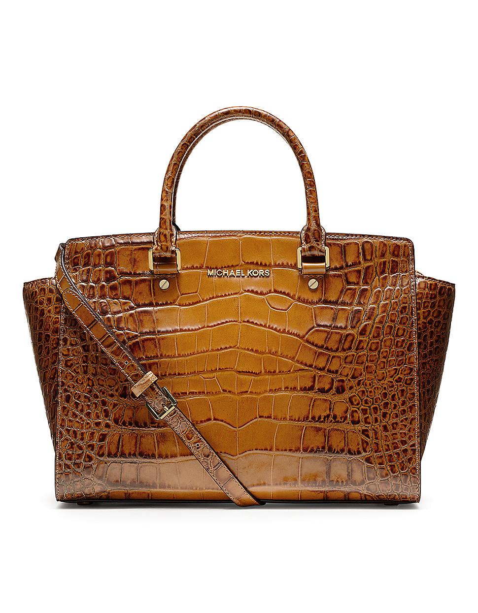 michael michael kors selma large satchel in brown lyst. Black Bedroom Furniture Sets. Home Design Ideas