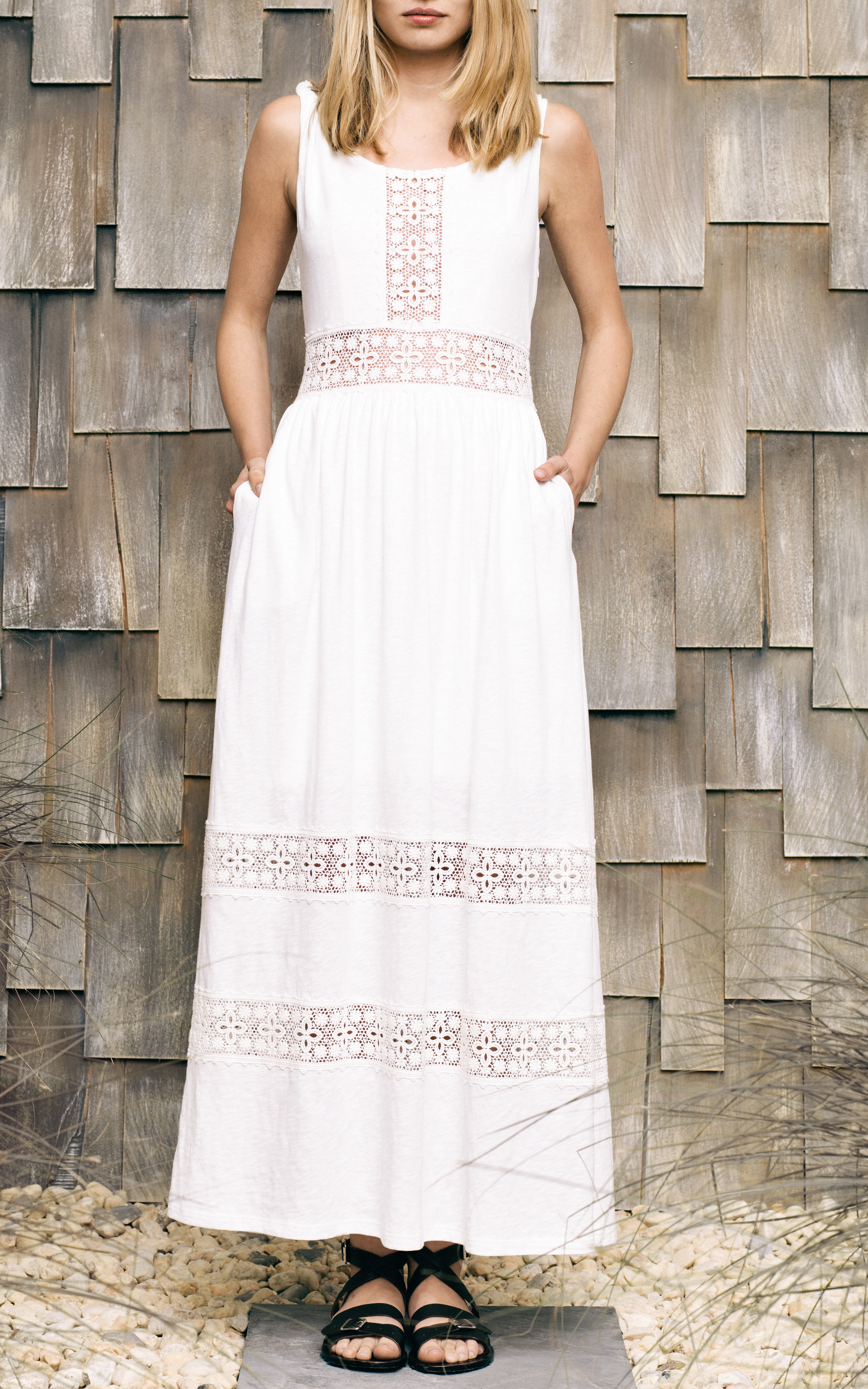 beb9f1fadce9 Lyst - Sea Cotton Jersey Long Dress with Lace Inset in White
