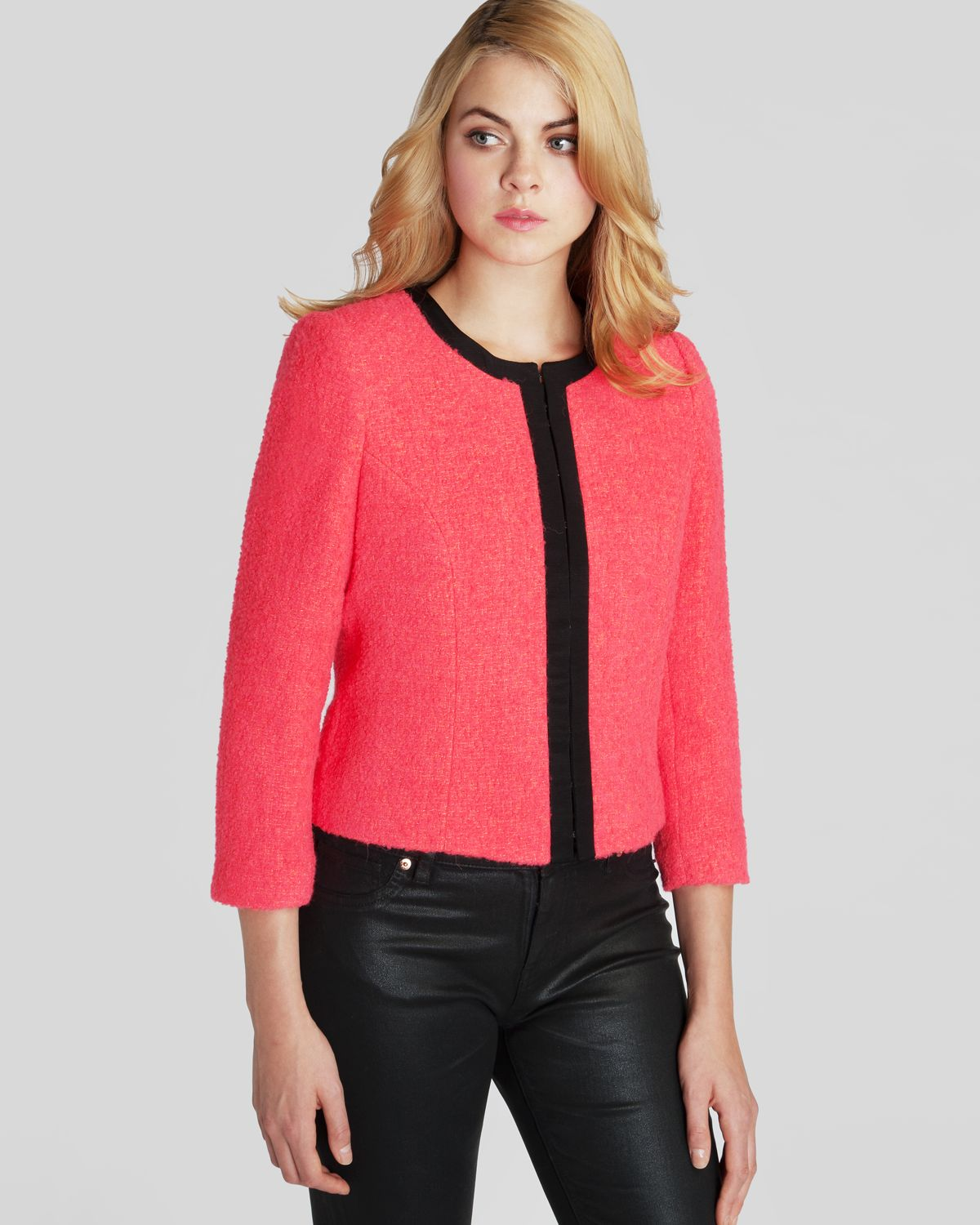 495d05a9f8d021 Lyst - Ted Baker Jacket Kerisa Cropped Neon in Red