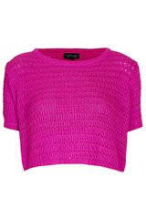 Topshop Knitted Crochet Top - Lyst