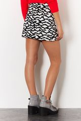 Topshop Bat Print Mini Skirt in White - Lyst