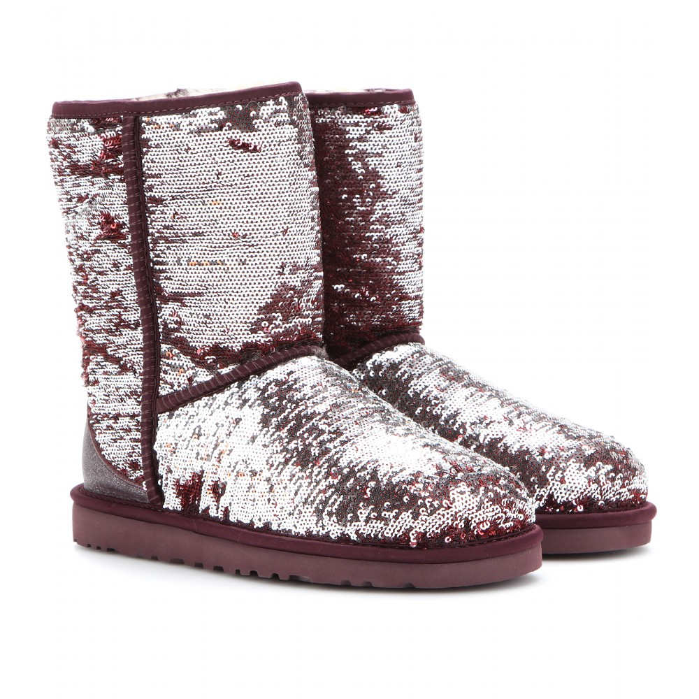 lyst ugg classic short sparkles sequined boots in metallic rh lyst com