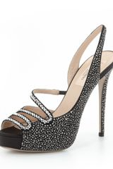 Valentino Crystallized Slingback Pump Black - Lyst