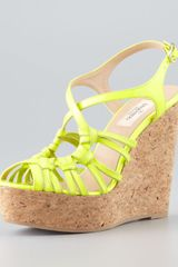 Valentino Strappy Patent Cork Wedge Sandal Yellow - Lyst