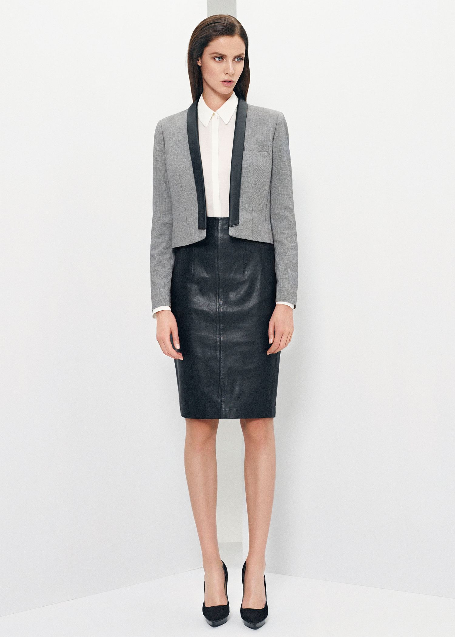 Mango Leather Pencil Skirt in Black | Lyst
