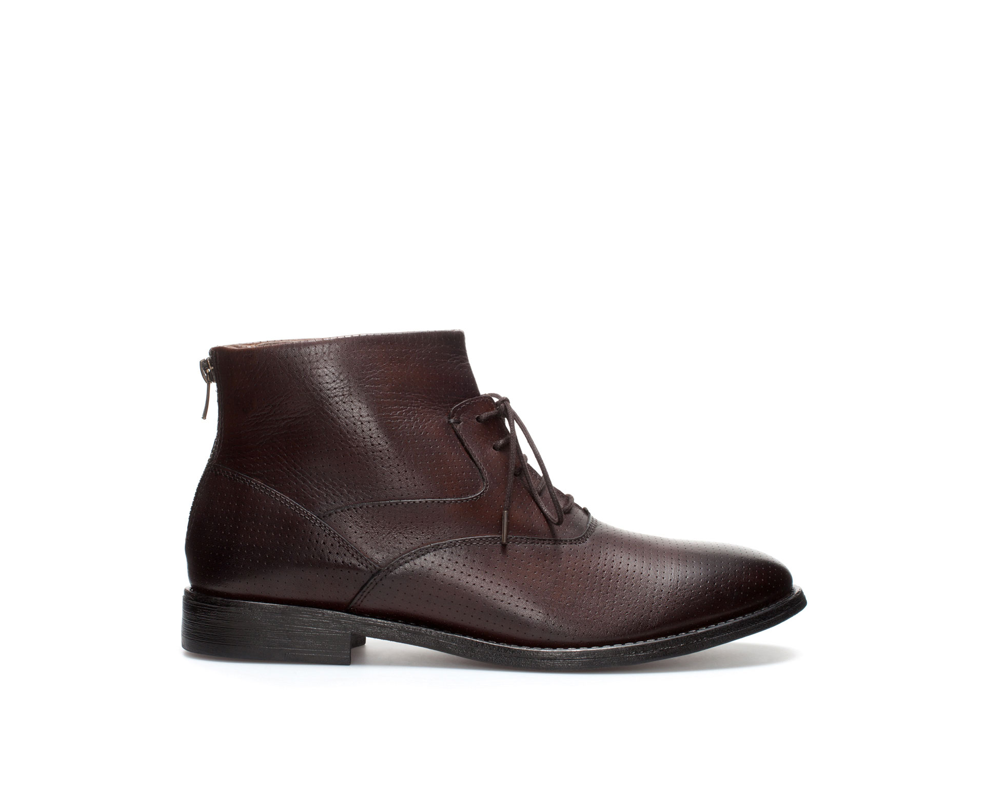 zara ankle boot with zip in brown for lyst