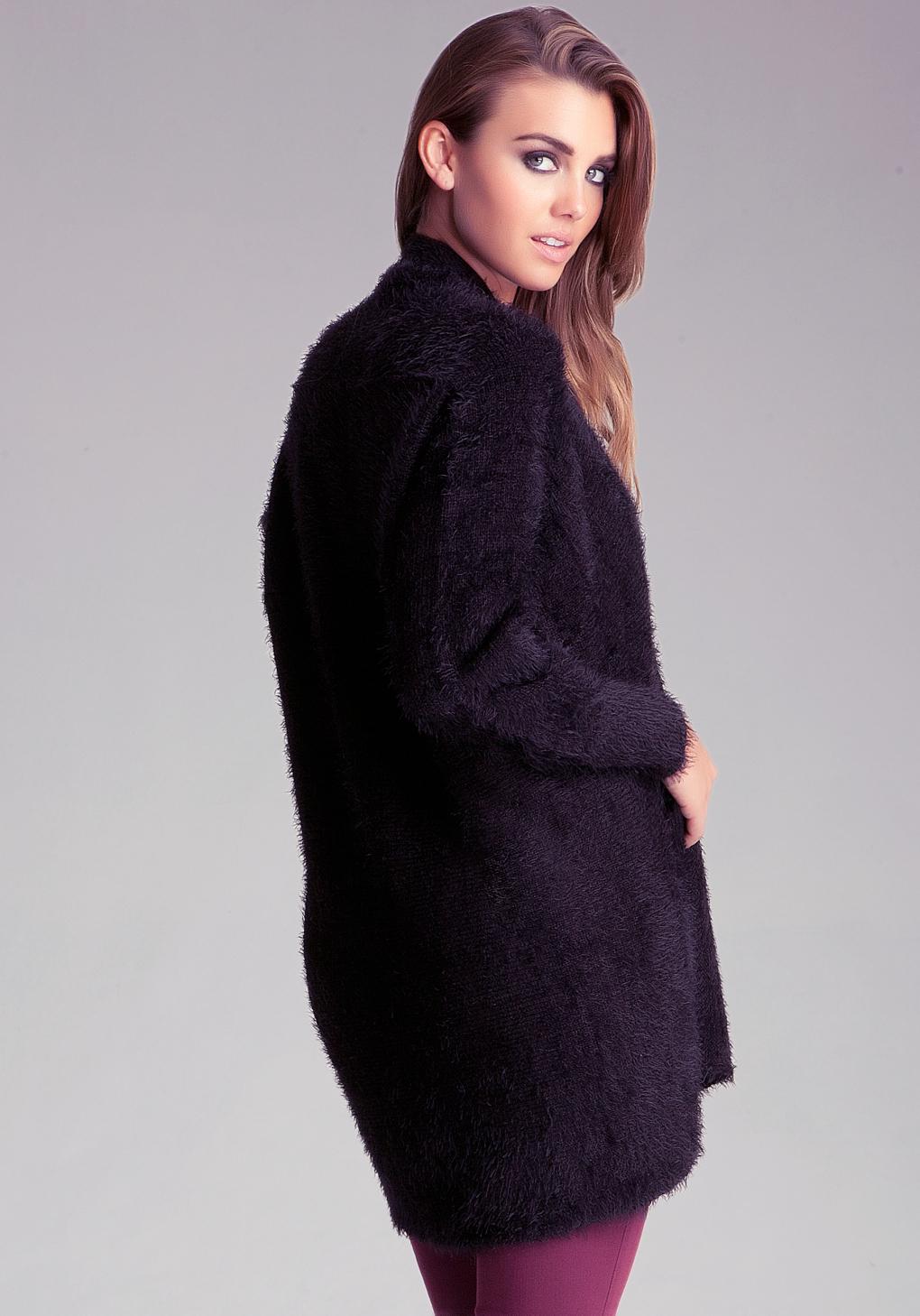 Bebe Fuzzy Sweater Cardigan in Black | Lyst