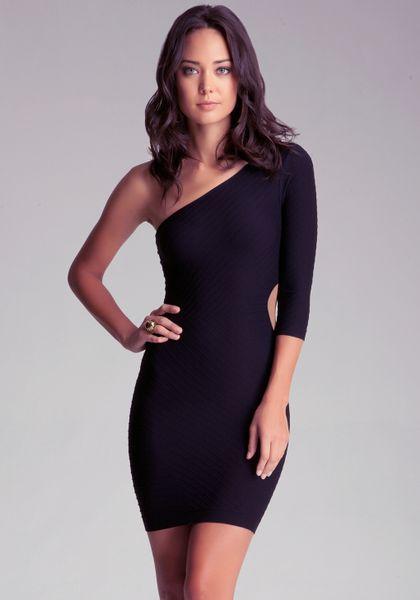Bebe Side Cutout Dress In Black Silver Lyst