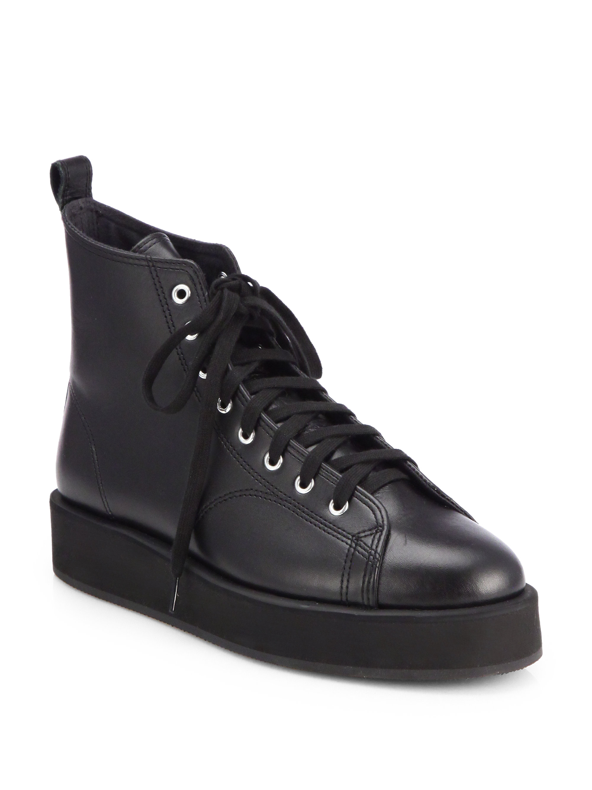Comme Des Gar 231 Ons Platform Laceup Leather Sneakers In