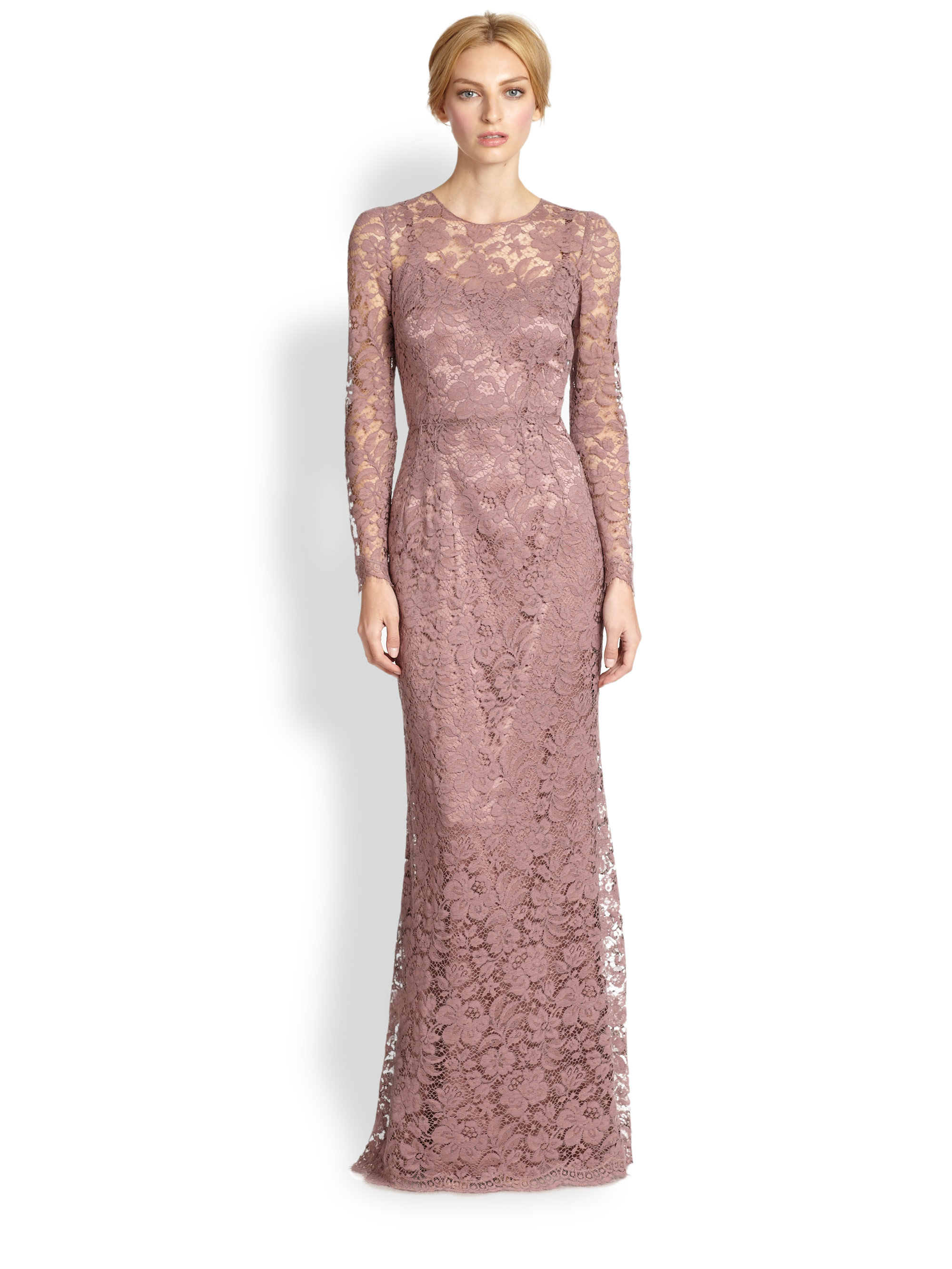 Lyst - Dolce & Gabbana Long Sleeve Lace Gown Rose in Pink