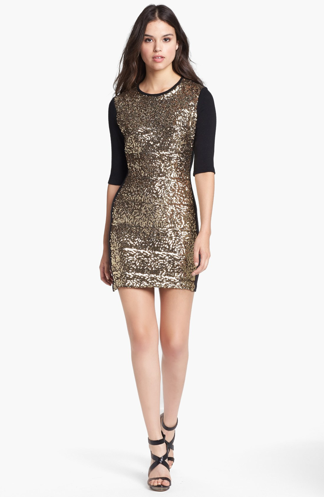 Dolce vita Sequin Front Sweater Dress in Metallic | Lyst