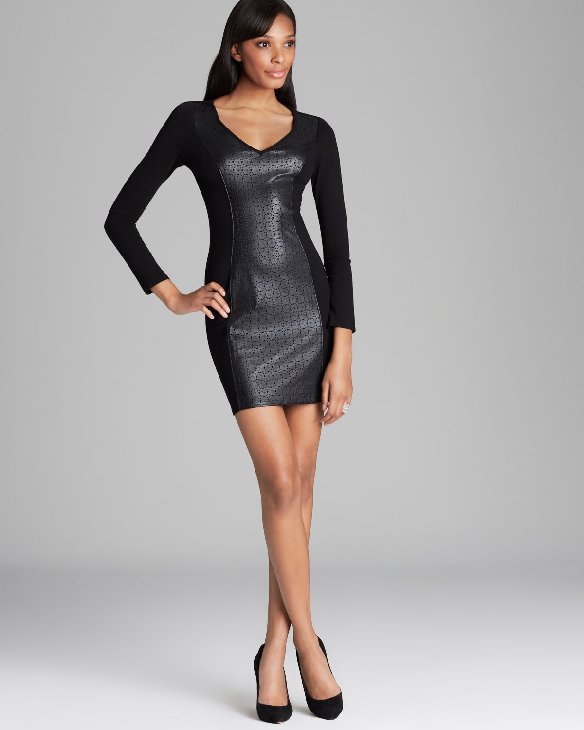 Ella moss Deborah Perforated Faux Leather Dress in Black | Lyst