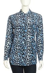 Equipment Signature Leopard Print Silk Blouse Electric Blue - Lyst
