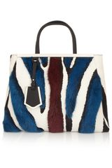 Fendi 2jours Medium Calf Hair Mink and Leather Shopper - Lyst