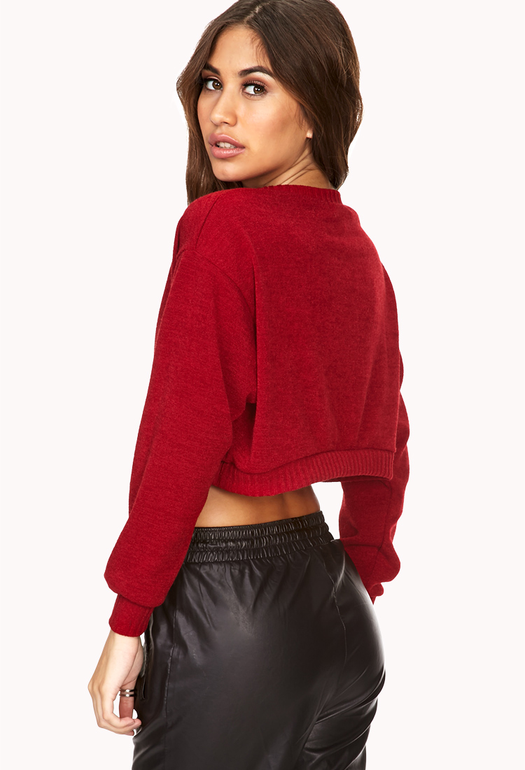 Forever 21 Day Off Cropped Sweater in Red | Lyst