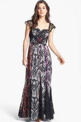 Free People Wild Heart Print Lace Inset Chiffon Maxi Dress - Lyst