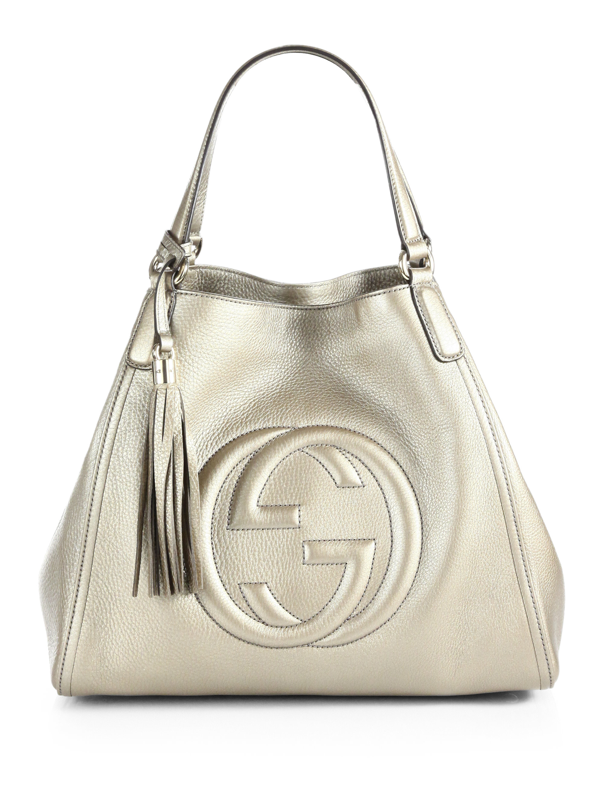 a039ba40a Gucci Soho Metallic Leather Shoulder Bag in White - Lyst