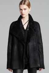 Helmut Lang Coat Wrecked Shearling Double Collar - Lyst