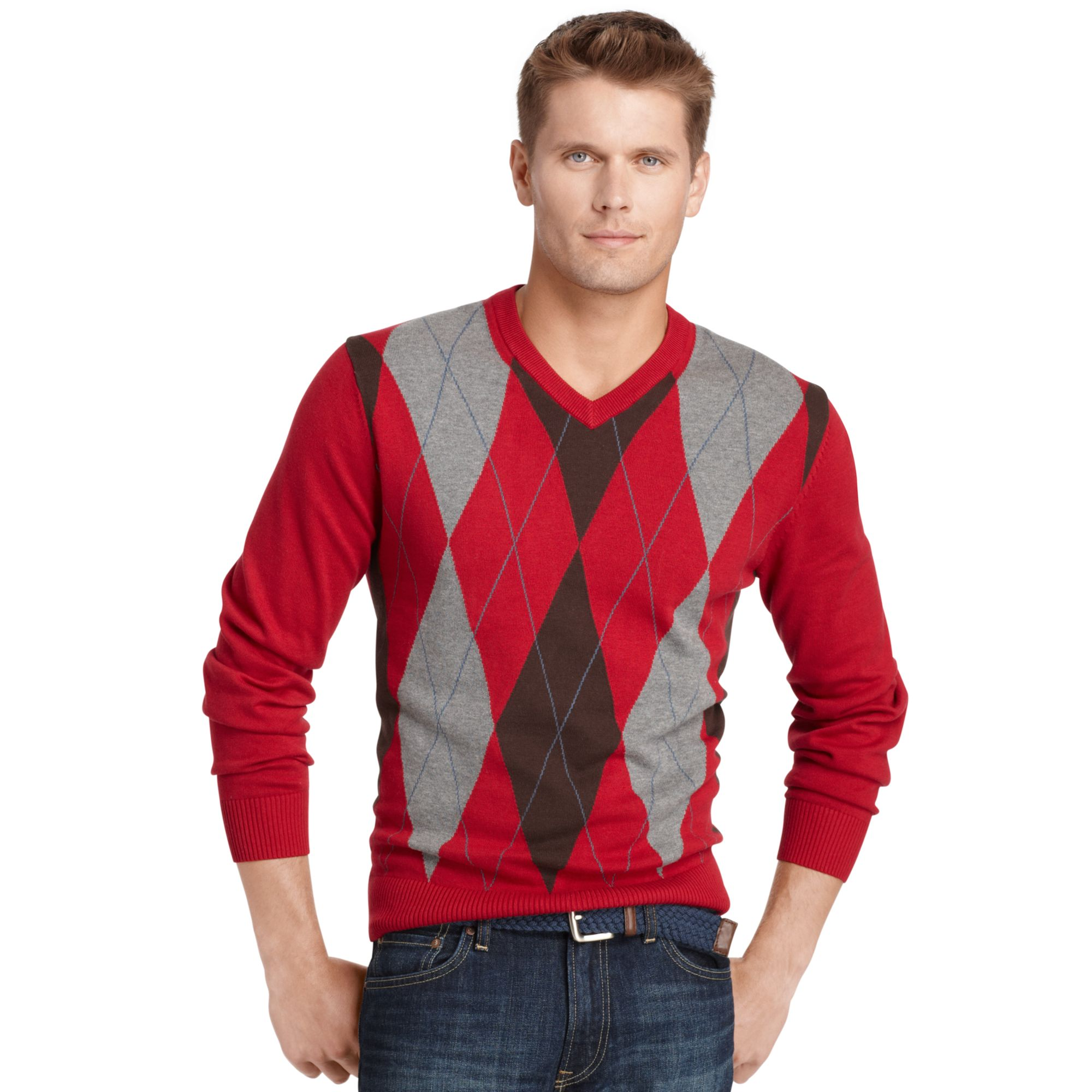 Izod Sweater V Neck Argyle Sweater for Men | Lyst
