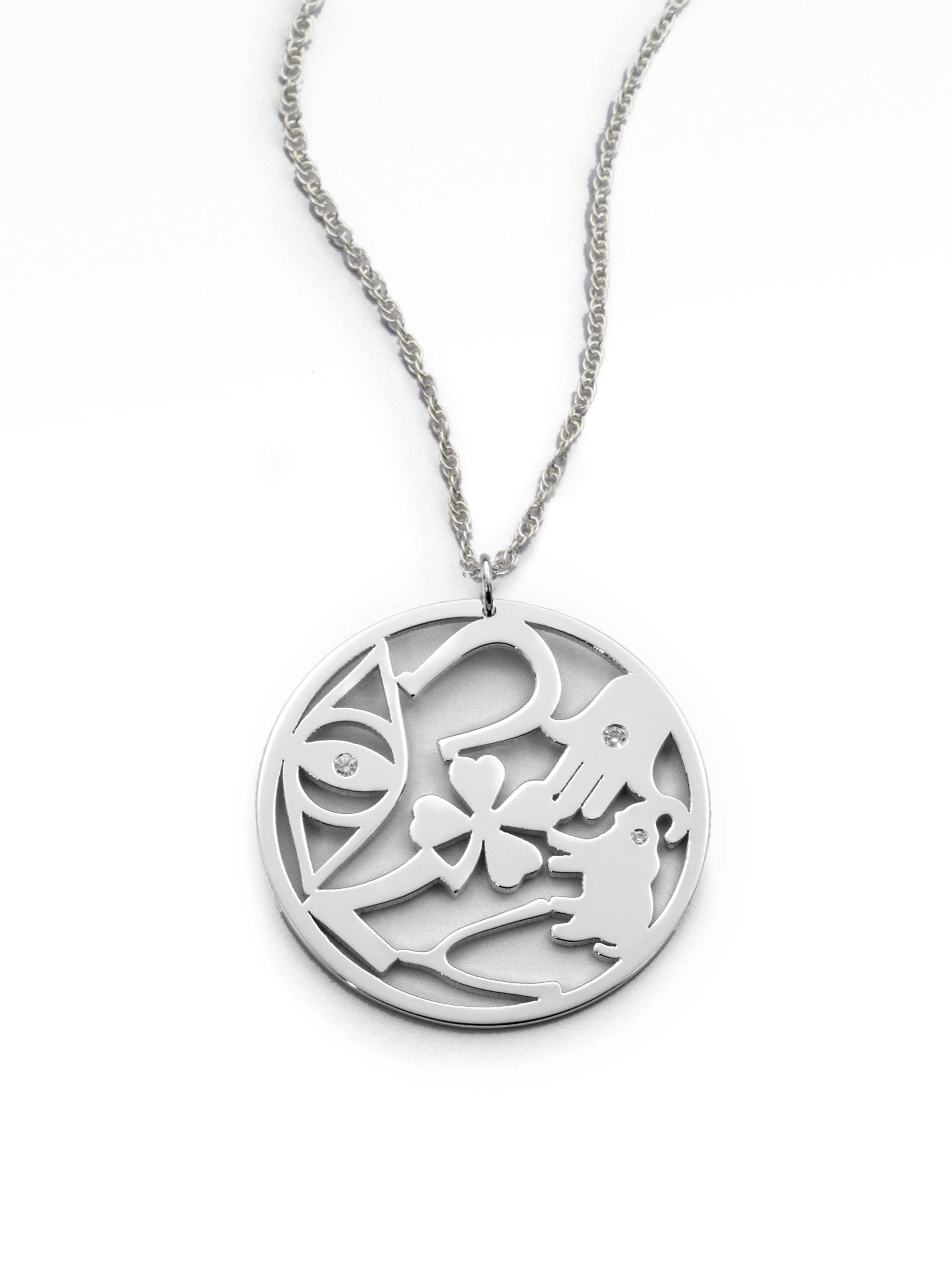 Lyst jennifer zeuner diamond good luck circle pendant necklace gallery mozeypictures Gallery