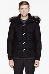 Kris Van Assche Black Wool and Fur Hooded Duffle Coat - Lyst