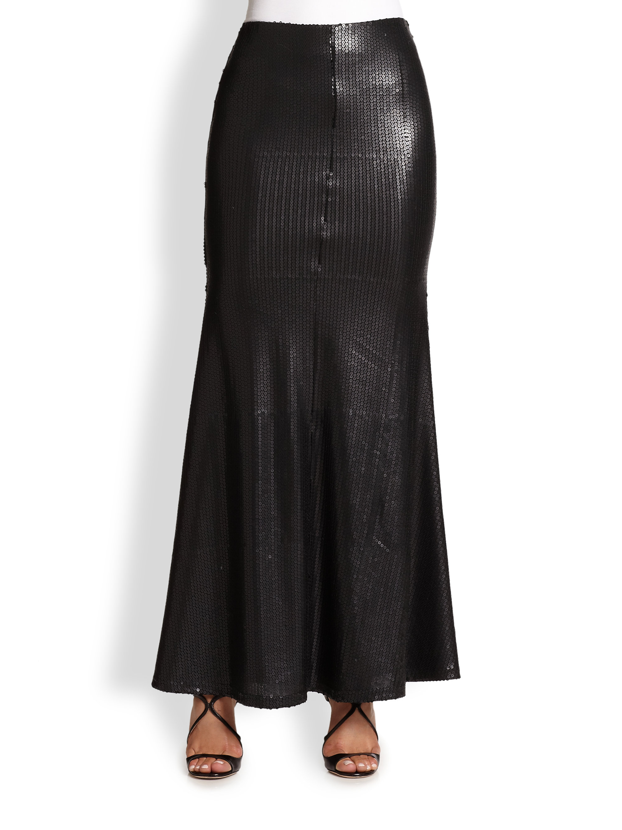line dot sequined maxi skirt in black lyst