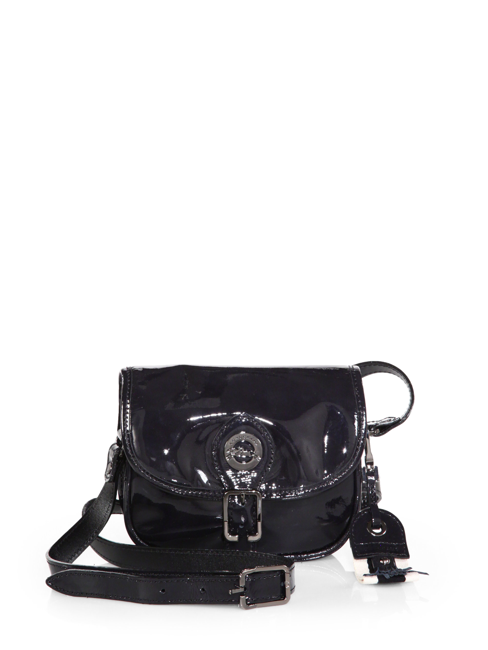 5c8665fa27 Lyst - Longchamp Patent Leather Crossbody Bag in Black