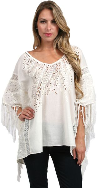 Love Sam Embroidered Lace Cotton Poncho - Lyst