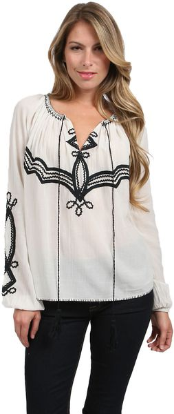 Love Sam Embroidered Blouse - Lyst