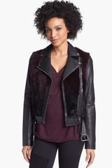 Mackage Tamika Leather Genuine Rabbit Fur Moto Jacket - Lyst