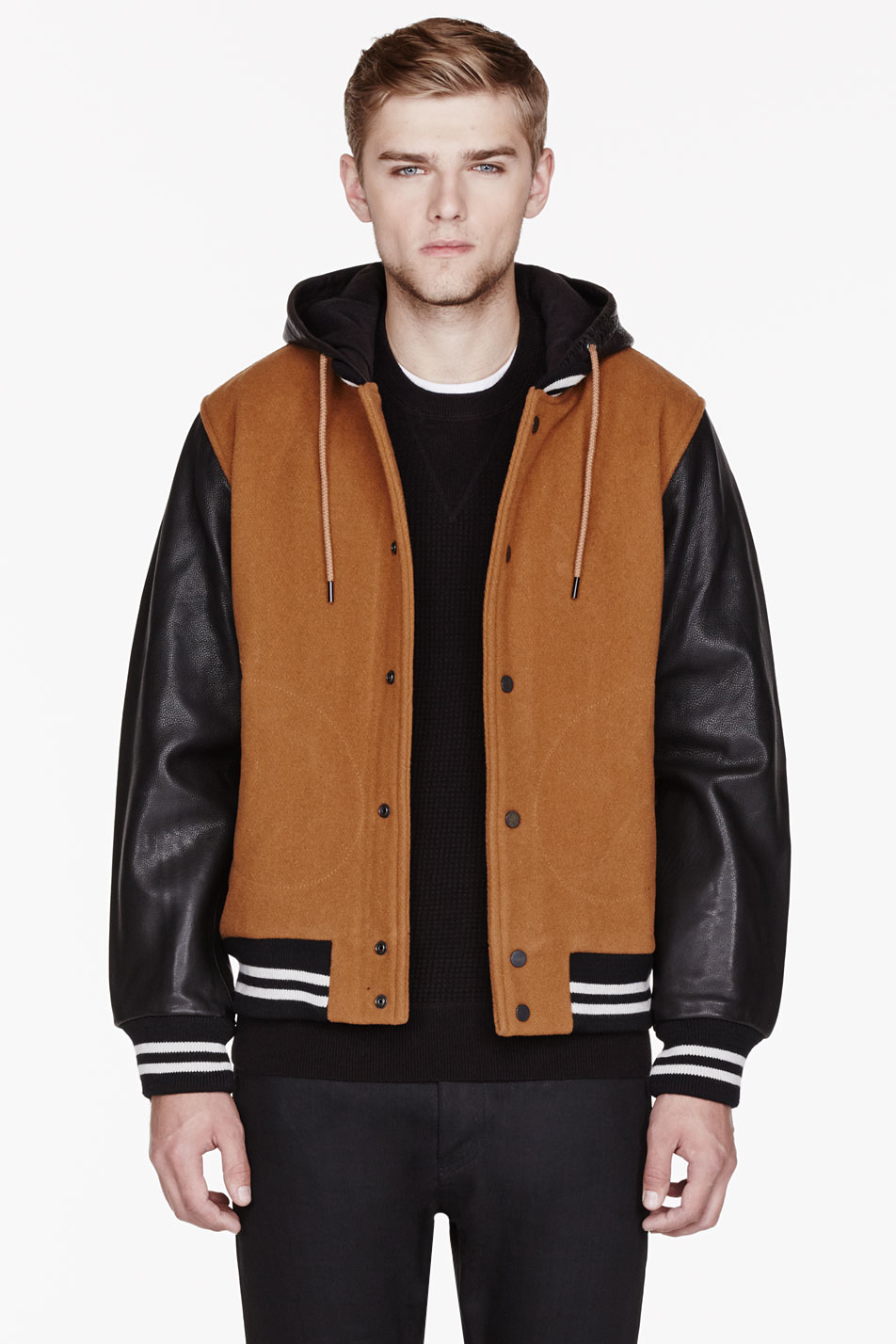 Brown leather varsity jacket – Modern fashion jacket photo blog