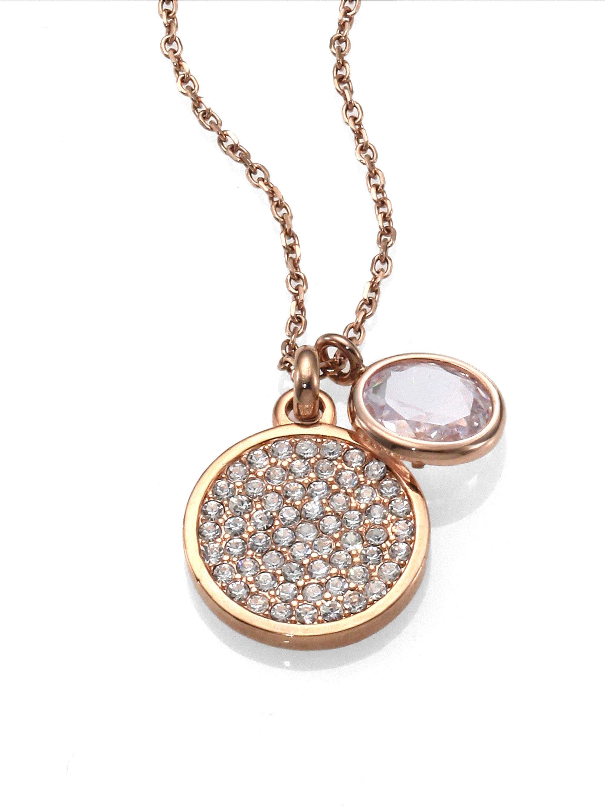Michael kors Pave Disc Faceted Pendant Necklacerose Goldtone in Metallic | Lyst