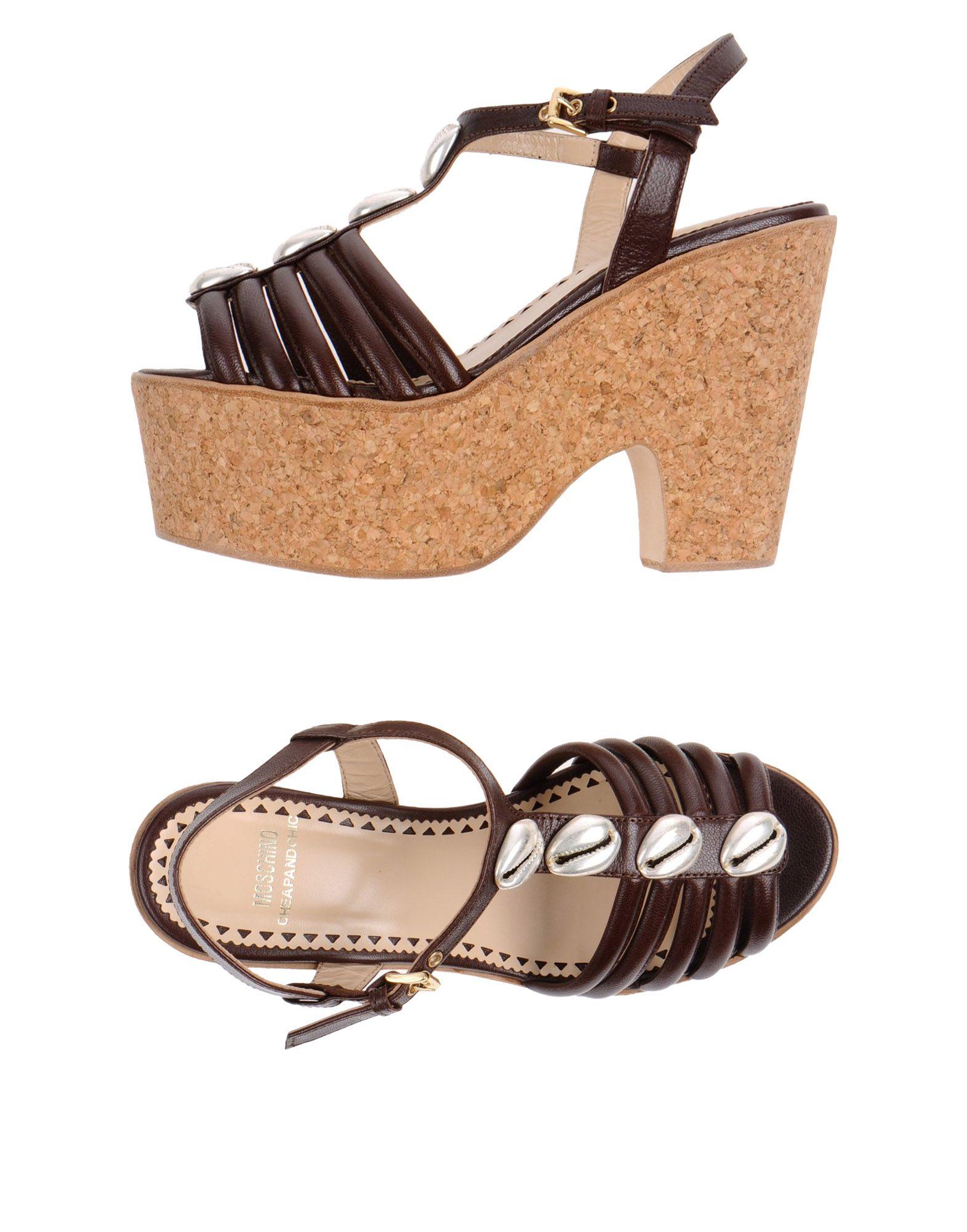 Moschino Cheap Amp Chic Platform Sandals In Brown Dark