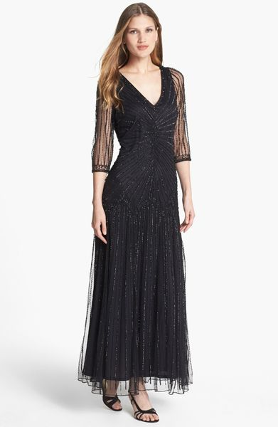 Pisarro Nights Embellished Illusion Sleeve Mesh Gown In