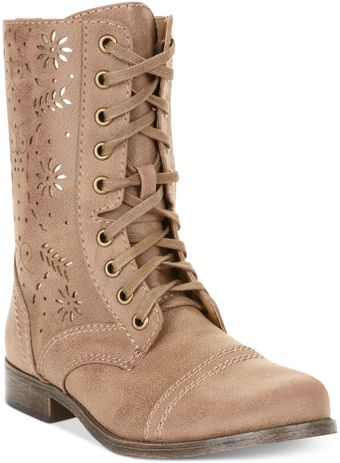 Rampage Joiner Lace Up Perforated Booties - Lyst