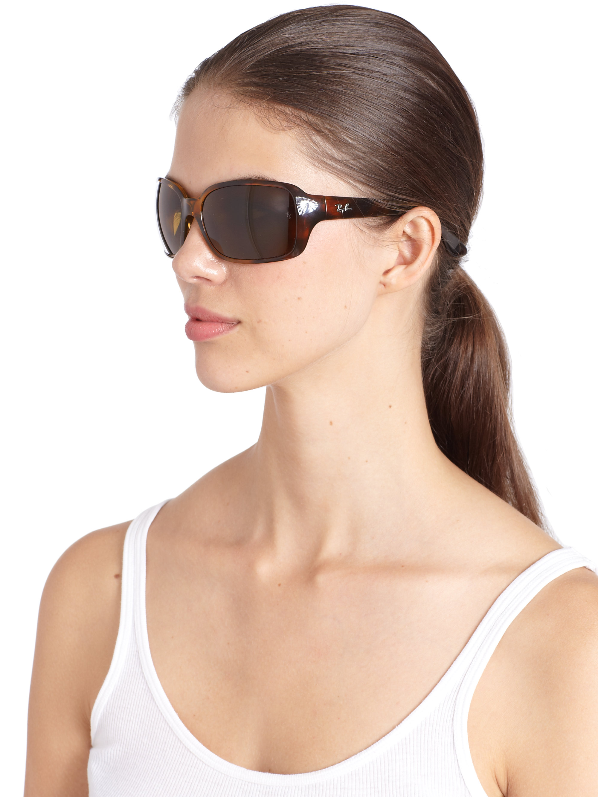 Lyst Ray Ban Big Glamour Tortoise Wrap Sunglasses In Brown