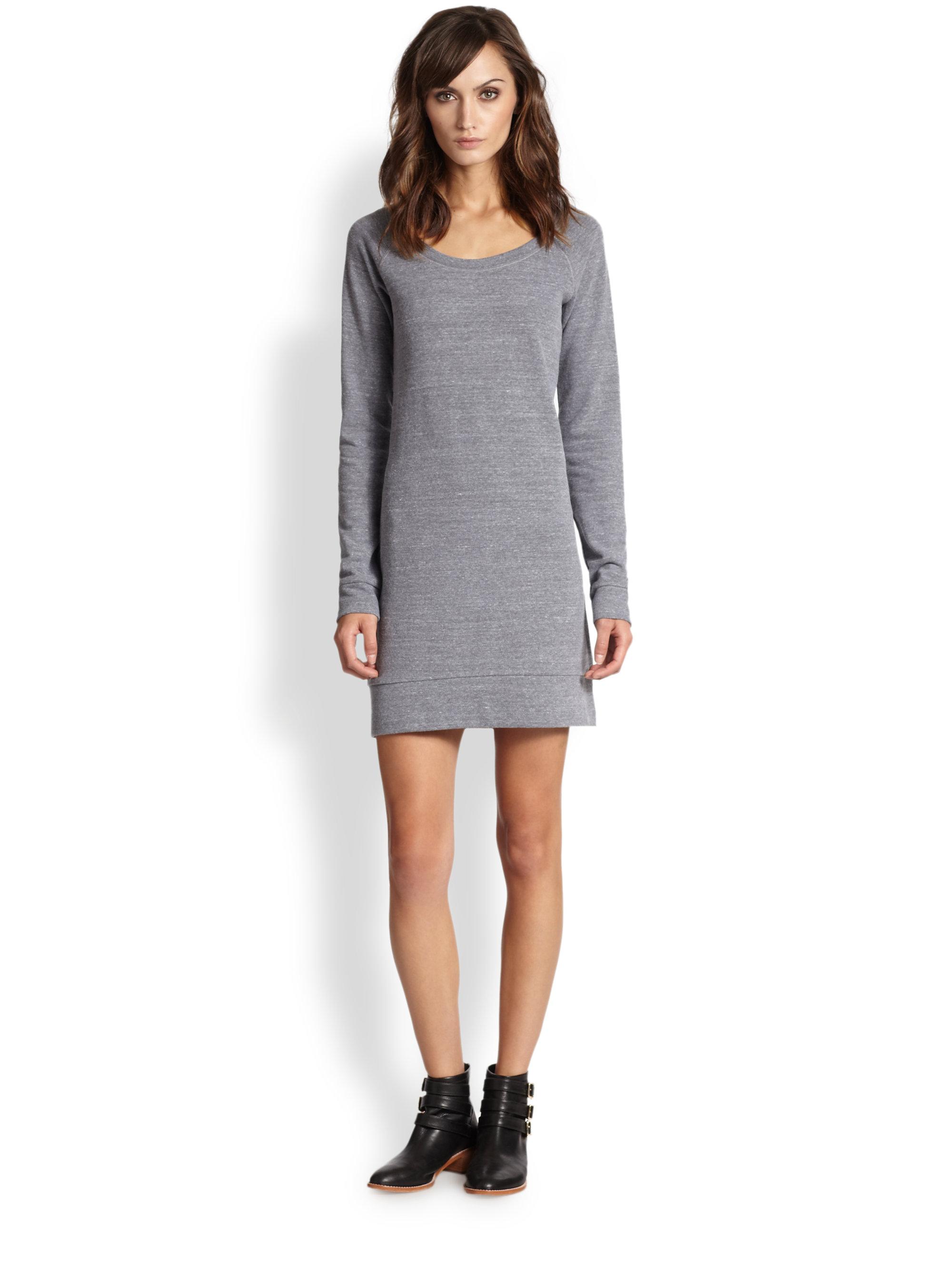 28a54d2d922ae Splendid Jersey Sweatshirt Dress in Gray - Lyst