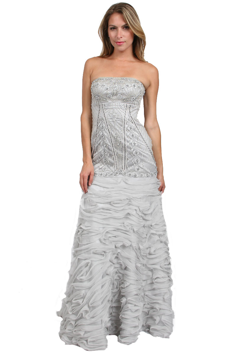 sue wong strapless beaded dress in silver platinum lyst