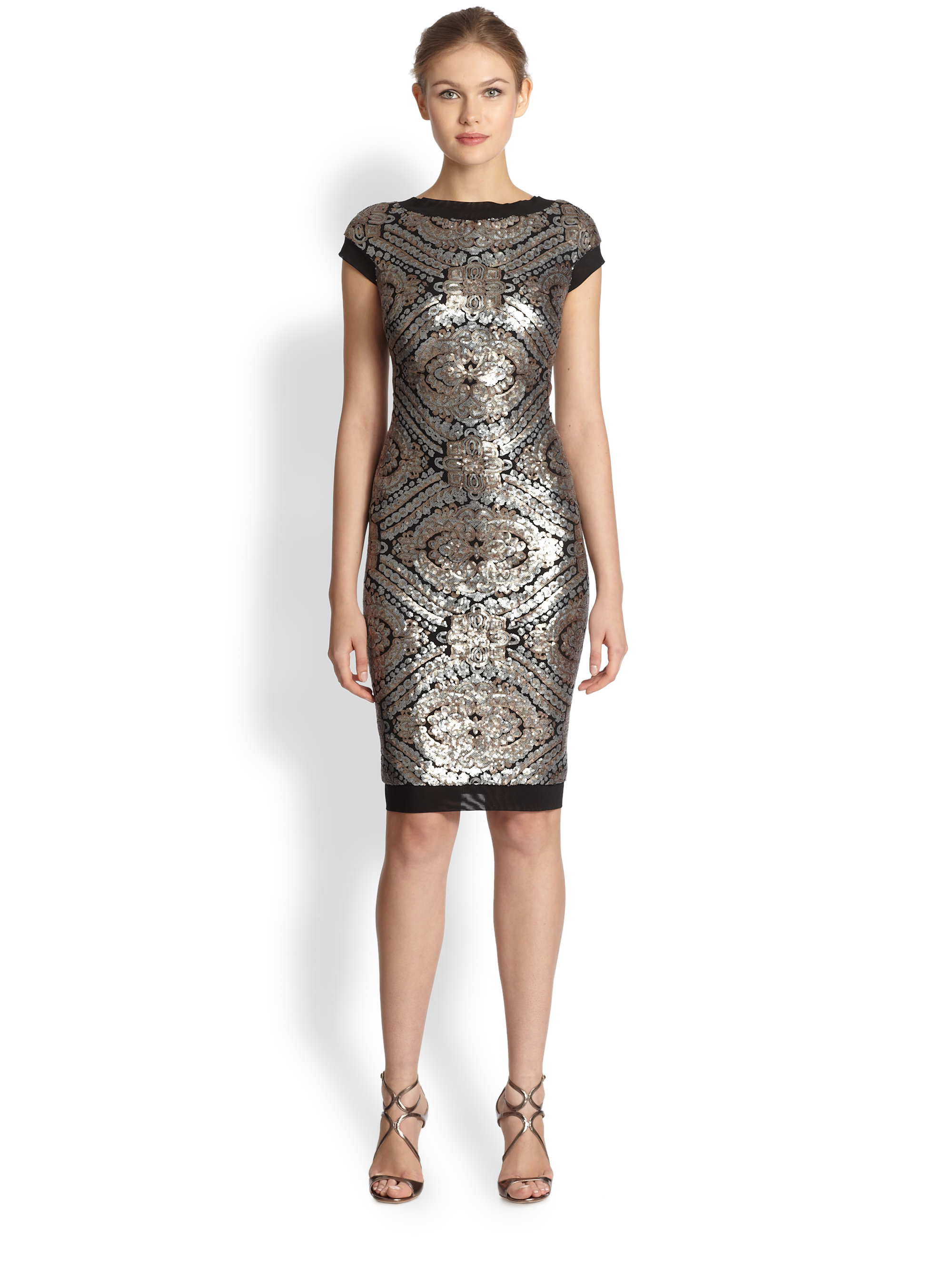 228ae5271e3 Tadashi Shoji Sequined Cap Sleeve Cocktail Dress in Metallic - Lyst