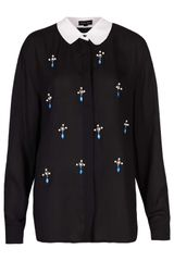 Topshop Cross Pearls Blouse  - Lyst