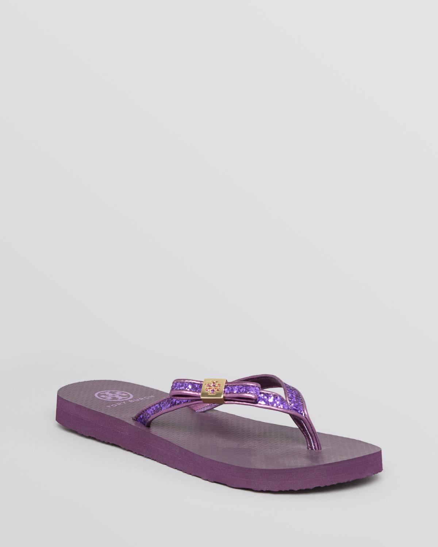 tory burch flip flops in purple purple glitter lyst. Black Bedroom Furniture Sets. Home Design Ideas
