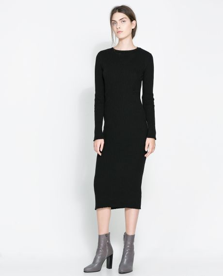 Zara Ribbed Dress With Long Sleeves In Black Lyst