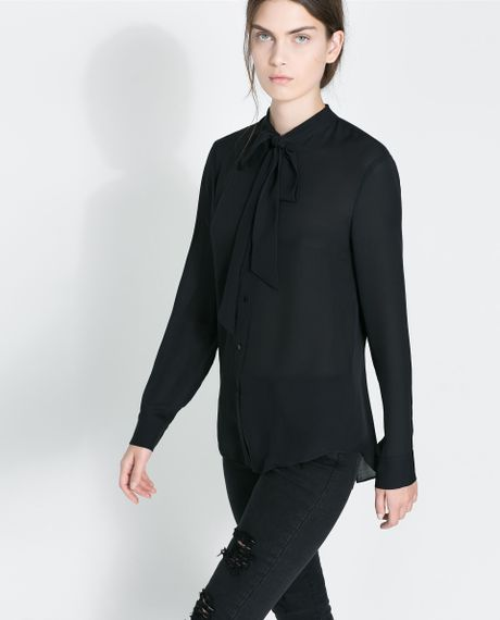 Zara Silk Blouse With Bow 19