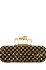 Alexander McQueen Embroidered Velvet Knuckleduster Clutch Bag Blackgold - Lyst