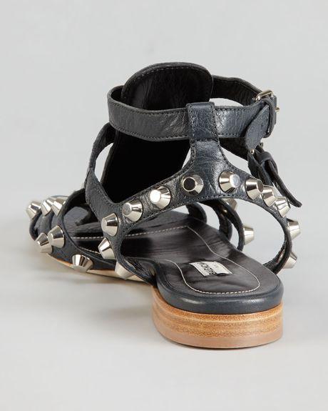 Balenciaga Nickel Studded Gladiator Sandal Black In Black