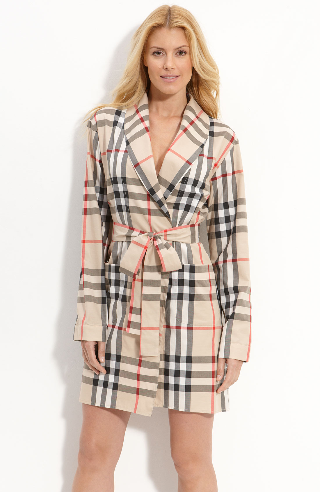 Burberry Check Print Robe In Beige Classic Check Lyst