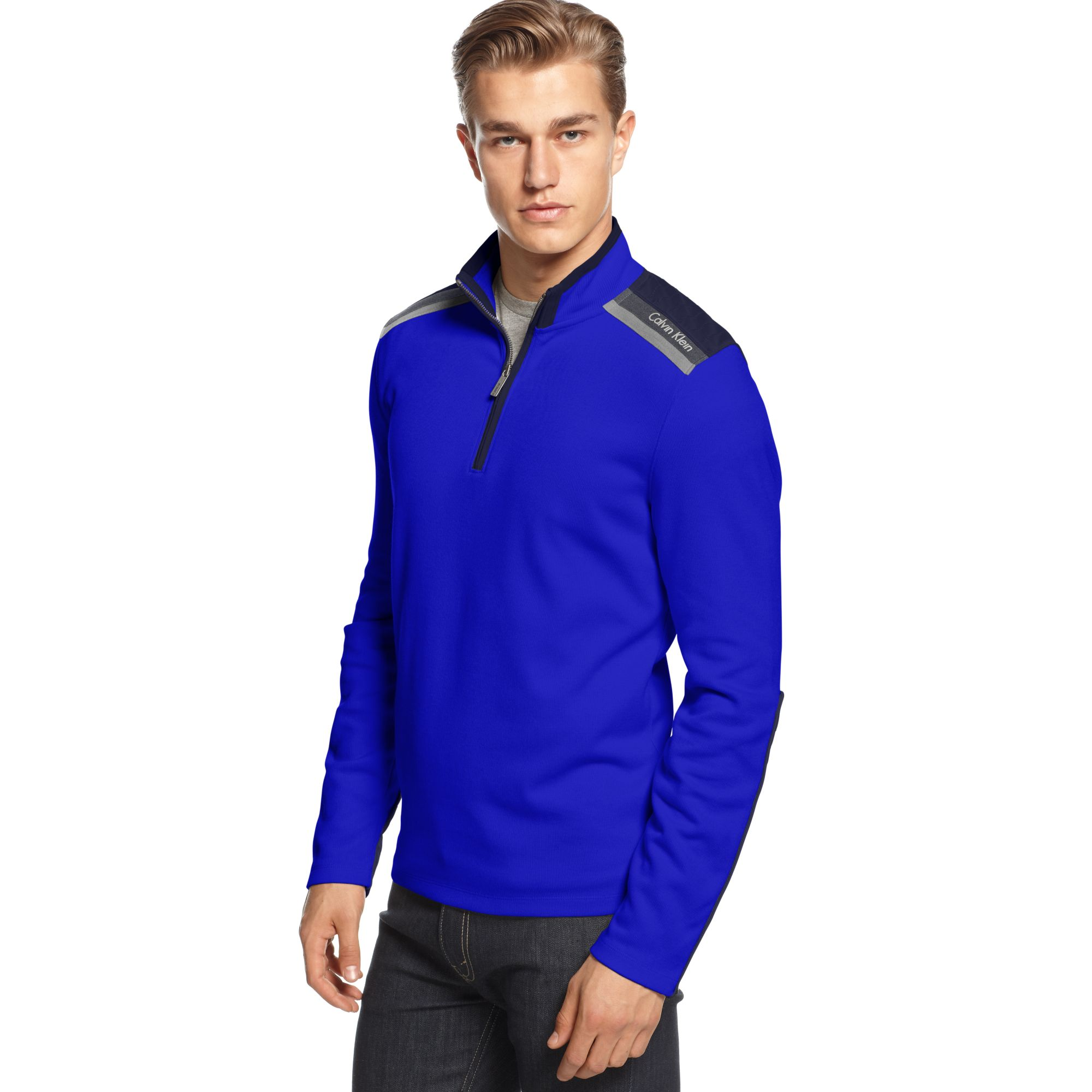 calvin klein mixed media french rib quarter zipper sweater in blue for men blue ruin lyst. Black Bedroom Furniture Sets. Home Design Ideas